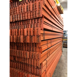 "[interb144] Racking Beam Teardrop Used 144""L x 4""H x 1.5"" W R.I.S. 1 5/8"" Orange"