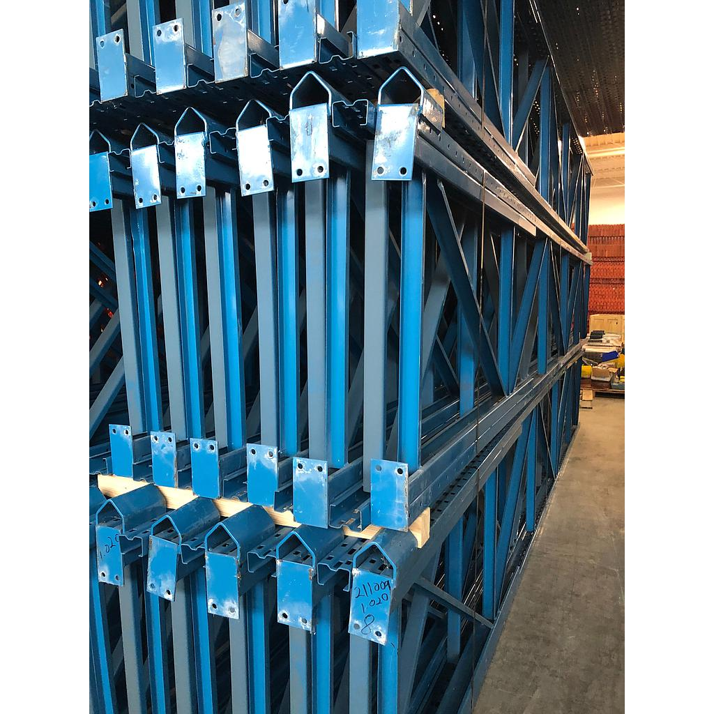 "[rrf240] Racking Frame RR Used 36''D x 240''H, 3.25"" x 2"" Double Posted to 75""Post, GM Blue"